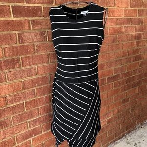 Calvin Klein Black White Striped Sleeveless Dress